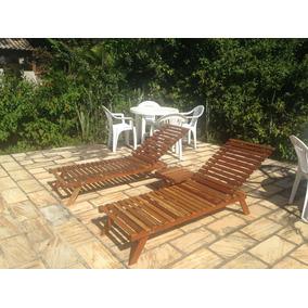Conjunto 2 Espreguiçadeiras Cadeira Piscina +1 Mesinha