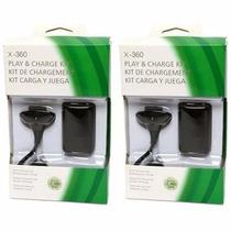 Kit 2 Baterias Carregador Controle Xbox 360 Slim 35 Horas