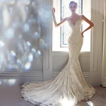 Vestido De Noiva Sereia Calda Longa Bordado Decote Luxo
