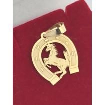 Pingente Ferradura Com Cavalo Ouro 18k 750