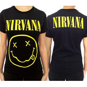 Camiseta Nirvana Smile Feminina Baby Look Rock Grunge Metal