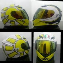 Capacete K3 Valentino Rossi Gotich White 2 Viseiras