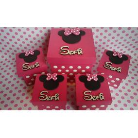Cajitas Souvenir Minnie Mickey 6x6 Con Nombre En Madera