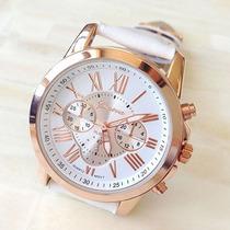 Relógio Feminino Branco Com Detalhes Na Cor Rose