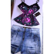 Conjunto Shorts Bermuda Jeans Regatinha Roupas Feminina