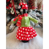 Porta Botella Navidad Ropa Santa Con Gorro Adorno Decorativa