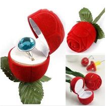 Porta Anel- Rosa Com Cabo -caixinha Veludo -caixa Aliança