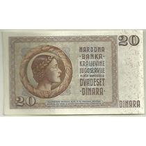 Hermoso Billete Yugoeslavia Año 1936 20 Dinara Sin Circular