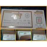 Invitaciones 15 Años Estilo Ticket Con Letras En Dorado