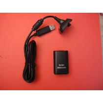Kit Bateria 3600mah Y Cable Recargable Para Xbox 360 - Negro