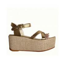 Zapatos Plataformas Sandalias Oro En Cuero Novia Talle 36