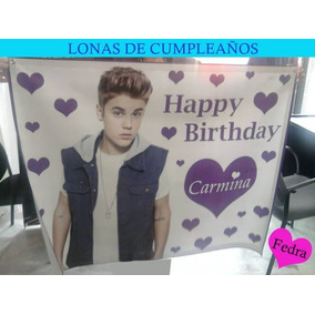 Lona Justin Bieber Personalizada Para Regalo De Cumpleaños