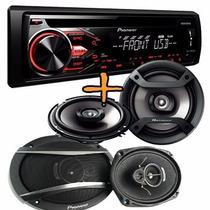 Combo Pioneer Stereo Mp3 Usb Am/fm+ 6x9 3v 420w + 6.5 200w