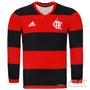 Camisa Adidas Flamengo I 2016 Manga Longa - Futfanatics