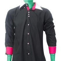 Camisa Social Slim Fit - Esporte Fino Preta/r Poliéster