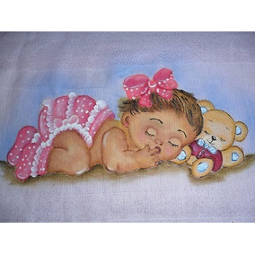 Fralda Pintada À Mão Com Bico De Crochê Pequeno