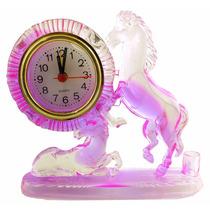 Relogio De Mesa Em Plastico Com Cavalo Rosa A4638