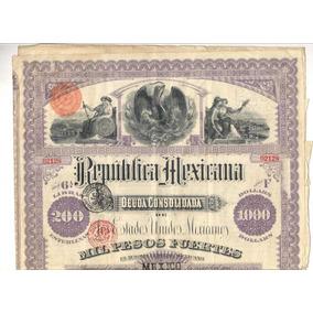 Apólice Christofher Columbus República Mexicana 1885 Us 1000