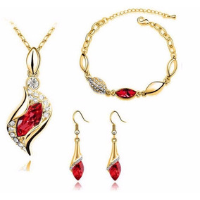 Conjunto Semi-jóia Colar Brincos Pulseira Cristal Banhad #11