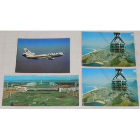 Cartão Postal Varig Lote2 C/4 Dc-10 Brasília Rio De Janeiro