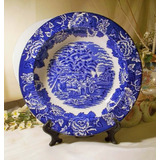 Antiguo Plato Porcelana Wood & Sons Paisaje Ingles Azul