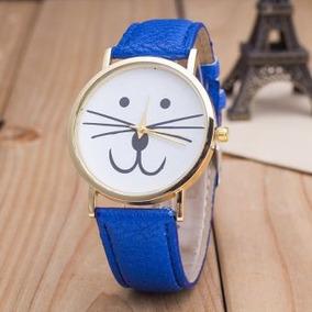 Reloj Gatito Kitty Colores Acero Dorado Correa Piel, Mayoreo