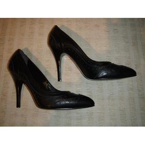 Zapato Gacel De Cuero Taco Y Punta Fina N º 38 Alto.