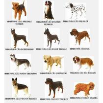 Coleção 12 Miniaturas De Cães De Raça + 2 Cães