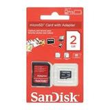 Cartão De Memória Micro Sd 2gb Original + Adaptador Lacrado