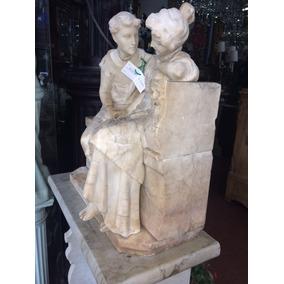 Antigua Figura De Marmol Hombre Y Mujer 2 Piezas Con Base