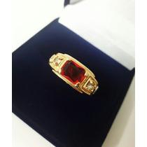 Anel Banhado A Ouro 18k Formatura Direito Pedra Vermelha