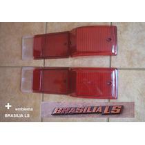 Kit 4 Lente Lanterna Traseira Lisa Brasilia 77 + Emblema