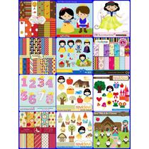 12 Kits Scrapbook Digital Branca De Neve - Frete Grátis