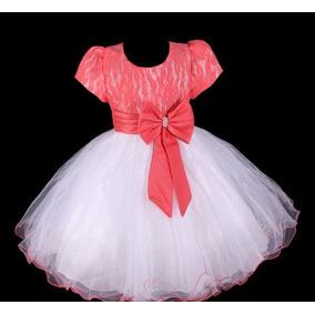 Vestido Infantil Festa Dama Florista Casamento Coral / Azul