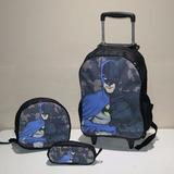Kit Mochila Bolsa Infantil Escolar Rodinha Batman 002