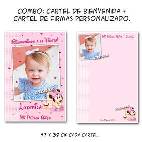 Minnie Bebé Combo Cumple: Cartel Bienvenida + Afiche Firmas
