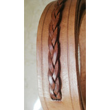 Cinturón Cuero Color Tostado Detalle Trenzado Cintura H/96cm