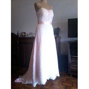 Vestido Novia Guipiur Forrado En Rosa, Modista Alta Costura