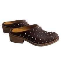 Zuecos Zapatos Mujer Cerrados Taco Tachas Cómodos