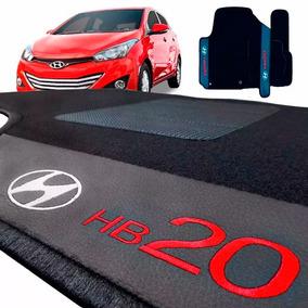 Jogo Tapete Carpete Automotivo Hb20 Vermelho Bordado 5 Peças