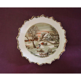 Antiguo Plato Decorativo De Porcelana Currier & Ives