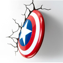 Lampara Pared 3d Light Escudo Capitán América Marvel