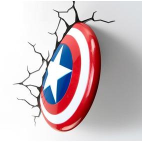 Lampara Pared 3d Light Escudo Capitán América Marvel