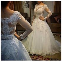 Vestido De Noiva Rodado Manga Longa Tulê Bordado Pedra Luxo