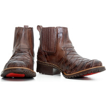 Bota Texana Country Escamada Western Hoper Couro Legitimo