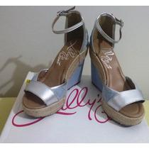 Sandália Anabela Jeans Claro + Prata, Linda, Lillys Closet!