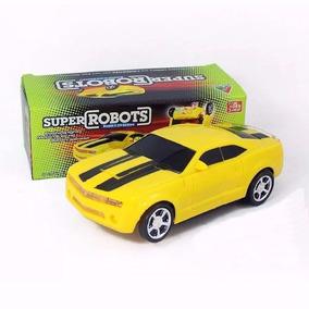 Carrinho Camaro Amarelo Vira Robô Com Luz E Som Transformers
