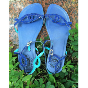 Sandália Colcci 36 Azul Com Glitter Rasteirinha Promoção