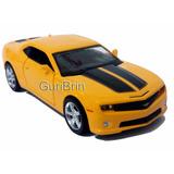 Carrinho Camaro Amarelo Com Faixas Miniatura 1/32 - Ferro