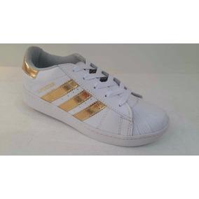 Zapato Deportivo adidas Superstar Blanco Oro Damas Y Niñas